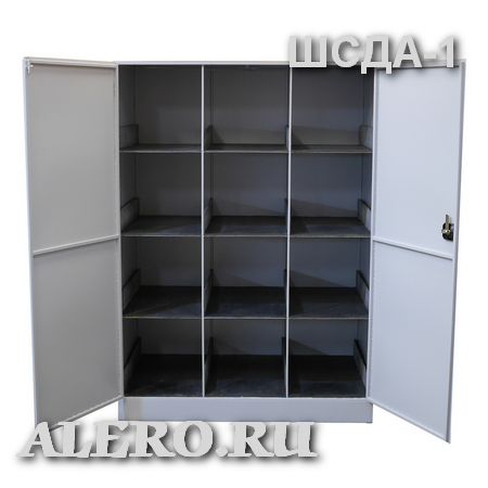 Шкаф для хранения дыхательных аппаратов со сжатым воздухом ШCДА-1. Двери открыты